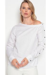 Blusa Listrada Com Recortes - Off White & Vermelhadudalina