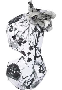 Silvia Tcherassi Maiô Gayle Com Estampa Floral - Branco