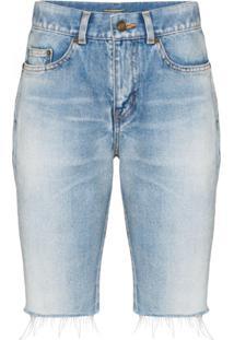 Saint Laurent Short Jeans Com Acabamento Desfiado - Azul