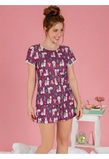 Pijama Com Estampa Divertida Lhama E Caquitos