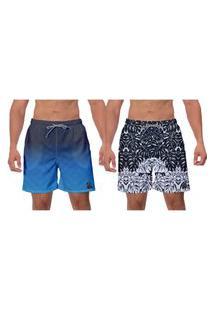 Kit 2 Shorts Moda Praia Estampado Folhas Azul Preto Caminhada Piscina Banho W2