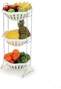 Fruteira De Plástico Branca Com Base Cromada Arthi