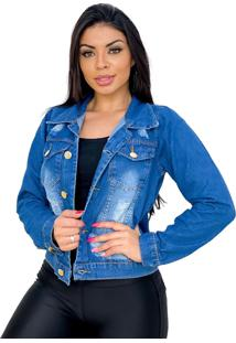 Jaqueta Jeans Curta Destroyed - Ewf Jeans - Azul Escuro