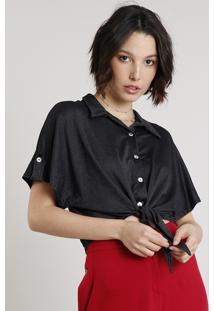 Camisa Feminina Cropped Estampada De Poá Com Nó Manga Curta Preta