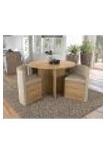 Conjunto De Mesa De Jantar Com 4 Cadeiras Cesky Suede Geométrico Bege E Freijó