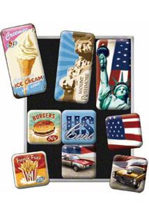 Imãs American Way Of Life 9 Peças Nostalgic Art