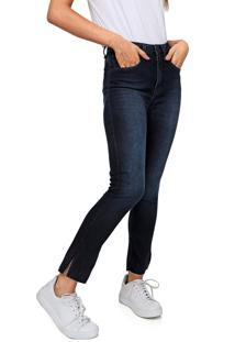 Calça Jeans Calvin Klein Jeans Skinny Cropped Estonada Azul