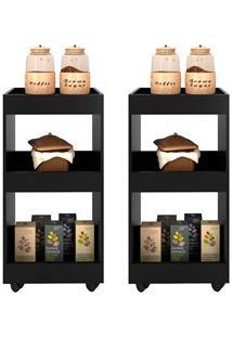 Kit 2 Armários Multiuso Para Cozinha Seul Com Rodízios L03 Preto - Mpo