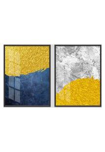Quadro 65X90Cm Abstrato Madson Moldura Preta Sem Vidro Decorativo Interiores