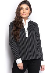 Camisa Camisete Feminina Listrada Manga Longa Casual