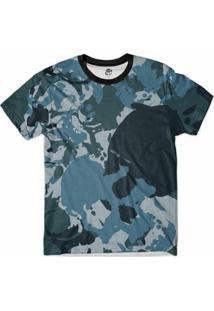 Camiseta Bsc Caveira Camuflada Marinha Full Print Masculina - Masculino-Azul