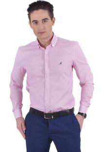 Camisa Social Listrada Horus Slim 100212 Rosa