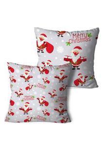 Kit 2 Capas Para Almofadas De Natal Merry Christmas Neutra 45X45Cm
