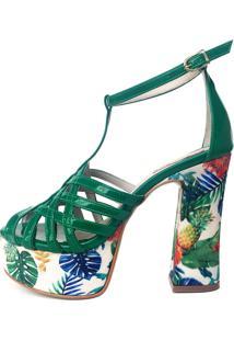 Sandália Blume Calçados Brasilis Verde/Floral