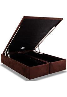 Cama Box Baú Ortobom Rosolare Camurça Marron -Queen Size-1,58-(2 Vol 0,79X1,98X0,35)