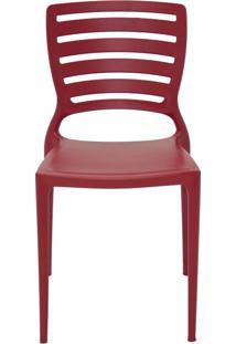 Cadeira Sofia Sem Braço Encosto Vazado Vermelho Tramontina