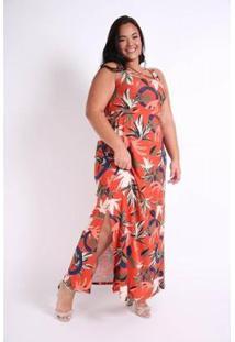 Vestido Decote Cruzado Plus Size Kauê Plus Size Feminino - Feminino-Laranja