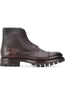 Santoni Ankle Boot Com Cadarço - Marrom