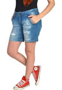 Bermudas Jeans Com Rasgos Cintura Média Yck'S