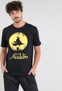 Camiseta Masculina Aladdin Manga Curta Gola Careca Preta