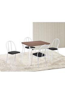 Conjunto De Mesa Com 4 Cadeiras Tiago Branco E Preto