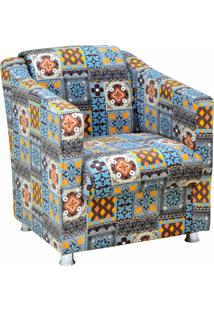 Poltrona Decorativa Lyam Decor Laura Azul Cinza