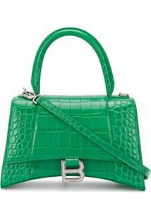 Balenciaga Bolsa Tote Hourglass Pequena - Verde