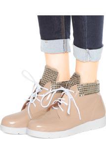 Bota Flatform Dafiti Shoes Verniz Bege