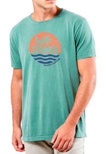 Camiseta Masculina Sandro Clothing Hello Summer Verde Água Estonada