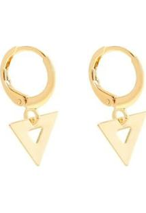 Brinco Piuka Mini Argola Triângulo Folheado Ouro Feminino - Feminino-Dourado