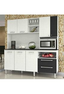 Armário De Cozinha Com Tampo Jade Kit'S Paraná Branco/Linho Branco/Cp- Linho Preto
