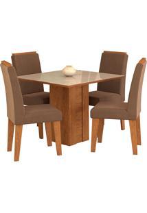 Conjunto De Mesa Com 4 Cadeiras Para Sala De Jantar 95X95 Rafaela/Milena -Cimol - Savana / Off White / Chocolate