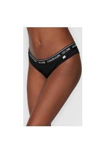Calcinha Calvin Klein Underwear Tanga Coração Logo Preta