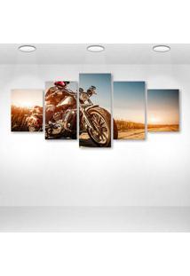 Quadro Decorativo - Moto Harley - Composto De 5 Quadros