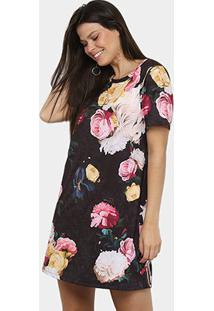 Vestido Lança Perfume T-Shirt Amplo - Feminino-Preto