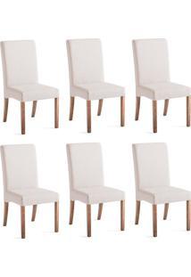 Conjunto Com 6 Cadeiras De Jantar Valentina Branco E Imbuia