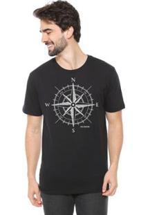 Camiseta Talismã Store De Algodão Eco Canyon Rosa Dos Ventos Masculina - Masculino-Preto