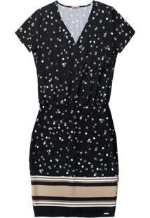 Vestido Manga Curta Estampado Preto