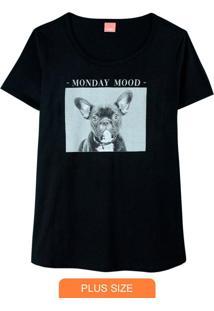 Blusa Preta Bulldog Monday Mood Em Malha