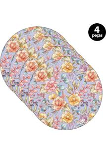 Capa Para Sousplat Mdecore Floral Roxo 4Pçs