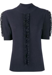See By Chloé Lace Frill Knitted Top - Azul