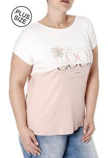 a59eae369a ... Blusa Manga Curta Plus Size Feminina Lunender Rosa Off White