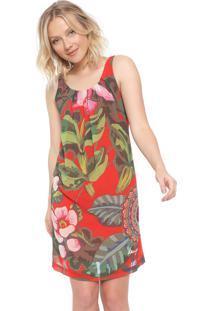 Vestido Desigual Curto Estampado Vermelho/ Verde - Vermelho - Feminino - Poliã©Ster - Dafiti