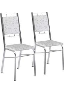Kit 2 Cadeiras Tecil Fantasia Branco Cromado Móveis Carraro