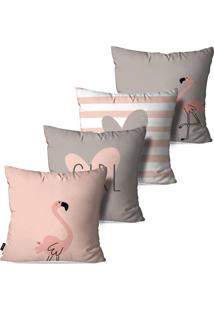 Kit Com 4 Capas Pump Up Para Almofadas Decorativas Rosa Flamingos Love Girl 45X45Cm