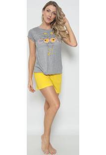 "Short Doll ""Cool""- Amarelo & Cinzazulai"