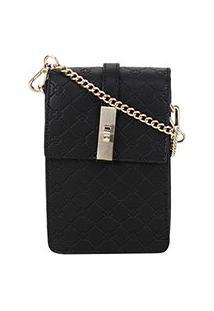 Bolsa Shoulder Bag Capodarte Monograma Alça Corrente Feminina - Feminino-Preto