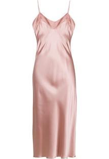 Sablyn Slip Dress De Seda Com Detalhe De Renda - Rosa