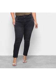 Calça Jeans Cigarrete Sawary Estonada Plus Size Feminina - Feminino-Preto