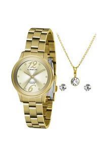 Kit De Relógio Analógico Lince Feminino + Brinco + Colar - Lrgh145L Ky36C2Kx Dourado